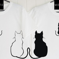 Cat Couple T-Shirt, Black and White T-Shirt, Quote T-Shirt, Unique,Couple T-Shirt, Cat Lovers ,Tumblr T-Shirt, Gifts Graphic for Him and Her
