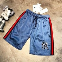 NY New fashion embroidery letter couple shorts Blue