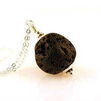 """Essential Oil Diffuser Necklace with Lava Stone Pendant on Sterling Silver Chain 18"""" Long"""