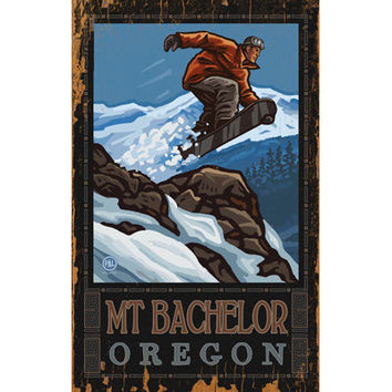 Personalized Snowboarder In Flight Wood Sign
