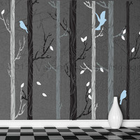 Powder blue birds nestled in birch trees wall decal, decal, wall graphic, vinyl decal, vinyl decal with birds, vinyl graphic wall decal