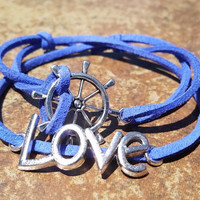 Blue Leather Silver Love Rudder Bracelet Anklet Charm Men Women Unisex Fashion New Love Cute Diy Friendship