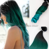 Teal Hair Extensions,Black Teal Green Turquoise Balayage Dip Dye 8A Ombre Double Weft Thick Remy Human Hair,3 bundles hair weft one set