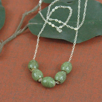 Green Bead Necklace, Green Necklace, Green Ceramic Beads, Oval Beads, Silver Necklace, Fine Chain Necklace