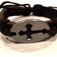 Semi-Adjustable Black Leather and Black Twine Religious Cross Bracelet