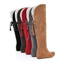 Autumn and winter snow boots fringed Martin boots Korean flat-bottomed high Gaotong knee boots female Y206