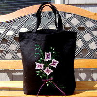 Hand Painted Black Tote Bag With Purple Flowers