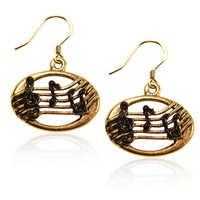 Disc with Musical Notes Charm Earrings