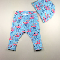 Baby girl leggings and hat clothing set, girl's leggings, baby girl going home outfit, organic baby leggings, newborn baby girl outfit