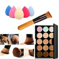 15 Colors Face Cream Makeup Concealer Palette Sponge Puff Powder Brush Set