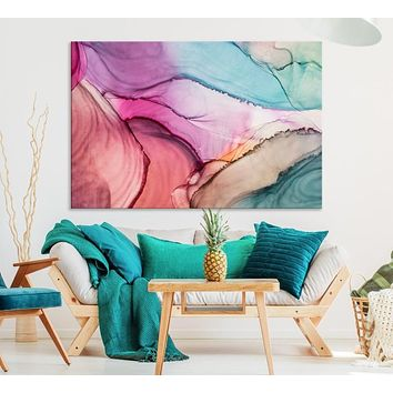 Large Pink Marble Wall Art Abstract Canvas Print