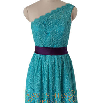 One-shoulder Turquoise Lace Bridesmaid Dress Am492