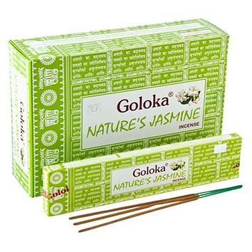 Goloka Nature's Jasmine Incense - 15 Gram Pack (12 Packs Per Box)