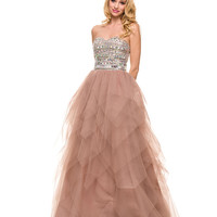Tan Strapless Embellished Sweetheart Ball Gown 2015 Prom Dresses