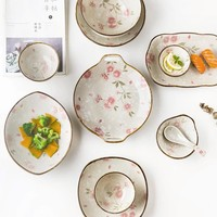 Japanese-style Diffuse Cherry Blossom Series Hand-painted Ceramic Tableware Rice Bowl Soup Bowl Sushi Plate Ceramic Discs Gift