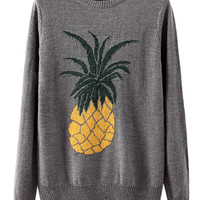 Gray Long Sleeve Knit Sweater With Pineapple Pattern - Choies.com