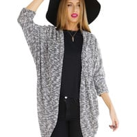 Gray Long Sleeve Open Front Cardigan