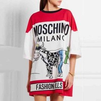 Moschino 2018 new cow print loose round neck short-sleeved T-shirt