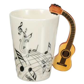Novelty 220ml Guitar Ceramic Cup Personality Music Note Milk Juice Lemon Mug Coffee Tea Cup Home Office Drinkware Unique Gift