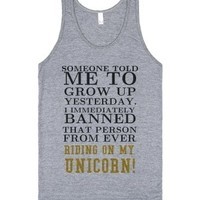 Can't ride my Unicorn tank top tee t shirt-Athletic Grey Tank