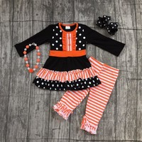 special offer baby girls fall/winter children clothes cotton orange stripe long sleeve pant outfits boutique with accessories