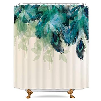 Riyidecor Watercolor Peacock Feather Shower Curtain Teal Blue Turquoise Floral Green Leaf Bathroom Home Decor Set Panel Fabric Woman Waterproof Bathtub 72x84 Inch Included 12-Pack Plastic Shower Hook 72Wx84H Peacock feather