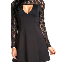 Crochet Lace Embroidered Long Sleeve Cutout A-Line Mini Skater Dress