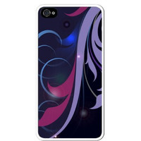 Floral Abstract Flower Art - Purple Lavender Blue Apple iPhone 5C Quality Hard Snap On Case for iPhone 5c/5C - AT&T Sprint Verizon - White Case