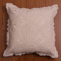 CROCHET PILLOW COVER, Handmade crochet Cushion Cover, Decorative Throw Pillow, Home Decor - Chakra Style Design, White and Natural Color