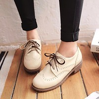 Round Toe Lace Up Women Chunky Heel Oxfords Shoes 3798