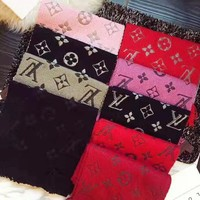 LV Louis Vuitton Popular Multicolor Easy To Match Cashmere Scarf Shawl Scarves Accessories