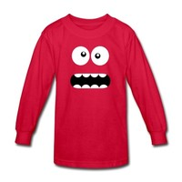 Funny Cartoon Monster Face - Crazy / Smiley Long Sleeve Shirt