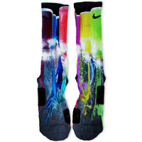 Paint Spill Custom Nike Elite Socks