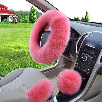 3Pcs Set Plush Soft Warm woolen Auto Car Vehicle Steering Wheel Gear Brake Cover Set Spring Fur Leather Handle Sleeves Handbrake