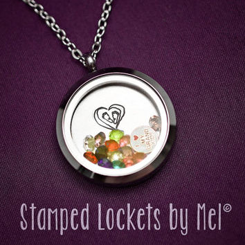 Footprints on my Heart - Grandma Necklace - Hand Stamped Stainless Steel Locket - Grandkid Birthstones - Personalized Jewelry - Nana, Granny