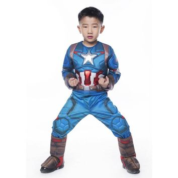 2016 New Arrival Deluxe Boys Avengers 2 Captain America Superhero Cosplay Party Clothing Kids Halloween Carnival Costumes