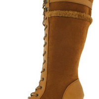 18168 WHEAT FUR TRIM CHUNKY KNEE HIGH BOOT