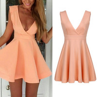 Women V-neck Casual Cocktail Party Pink Dress Sexy Mini Dress S M L