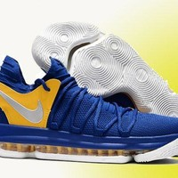 Nike KD 10 'Golden State Warriors' Blue Yellow/Silver For Sale