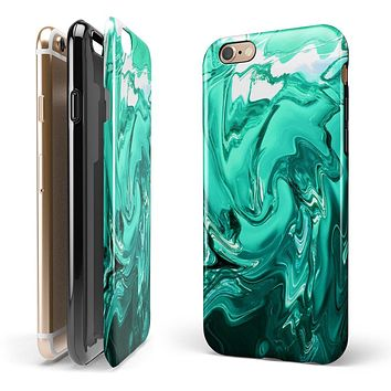 Bright Trendy Green Color Swirled iPhone 6/6s or 6/6s Plus 2-Piece Hybrid INK-Fuzed Case