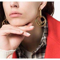 FENDI Women Creative Personality F Letter Circular Pendant Earrings Accessories Jewelry