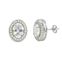 Sterling Silver Halo Cubic Zirconia Stud Earrings and Micropave Oval 12mm x 10mm