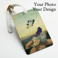 Custom made luggage name tag personalised pu leather Luggage Tag, Office Tag, Travel Tag, Bag Tag, Your Favorite Photo, Your Design