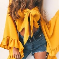 Crop Blouse with Flare Sleeve