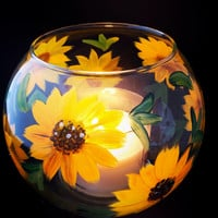 ON SALE Sunflower Candle Holder or Vase hand painted. Wedding Centerpiece