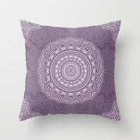 White Lace on Lavender Throw Pillow by Lena Photo Art