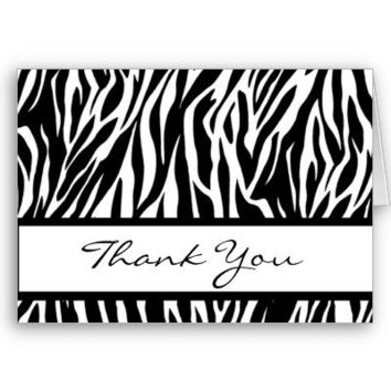 Black and White Zebra Thank You Card from Zazzle.com