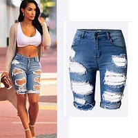 High Waist Ripped Hole Washed Distressed Jean Short