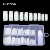 100 Pcs Clear Plastic Fake Nails With Glue Full Nail Tips Artificial Stiletto Nails Toe Art Manicure Finger Gel Polish