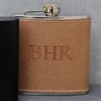 Tan Hide-Stitched Flask